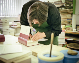 bookbinder at work